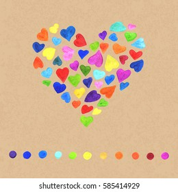 Hand-Drawn Natural Colorful Composition of Watercolor Hearts. Creative Style. Decorative Design Element Realistic Watercolour Heart.
