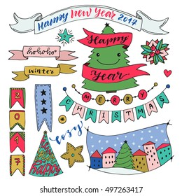 Handdrawn New Year collection with ribbons and decorations. Christmas vector elements. Colorful celebration design