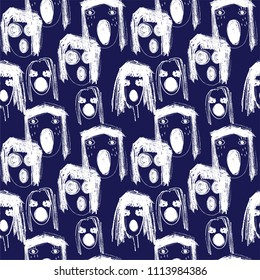 Hand-drawn nightmare crying monster faces doodle sttyle seamless pattern.