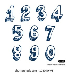 Hand-drawn numbers. Vector sketch illustration isolated on white background