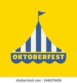 Handdrawn Oktoberfest flat color vector icon. Oktoberfest fair event design element. Bavarian beer festival emblem logo template. Traditional fest tent silhoutte sign at German beergarden illustration