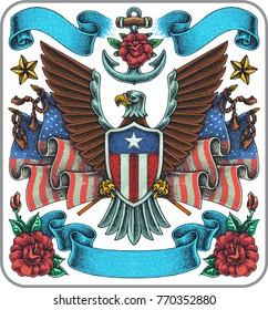 Hand-drawn old school tattoo set of America symbol theme.
