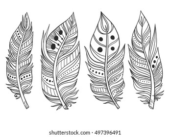 Hand-drawn ornamental feather lineart collection. Vector black and white chic boho tribal illustration set.
