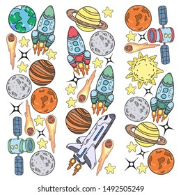 Hand-drawn Outer Space Doodles. Vector
