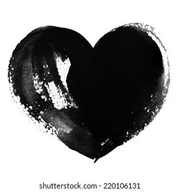 Hand-drawn painted black heart, vector element for your design