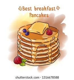 Hand-drawn pancakes illustration. Watercolor pancakes breakfast illustration. Pancakes with butter, syrup and berries.