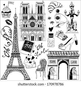 hand-drawn Paris symbols set