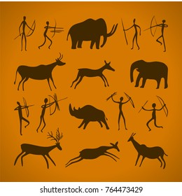 Hand-drawn pattern of cave drawings. ancient petroglyphs. primitive paintings. prehistoric art. Vector illustration.