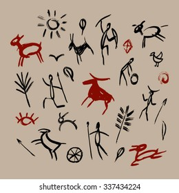 Hand-drawn  pattern of cave drawings. Vector illustration. Isolated from background.