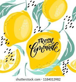 Hand-drawn pattern with lemons