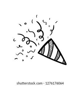 Handdrawn petard doodle icon. Hand drawn black sketch. Sign symbol. Decoration element. White background. Isolated. Flat design. Vector illustration.