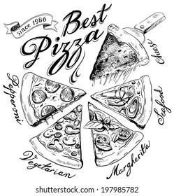 hand-drawn pizza illustration