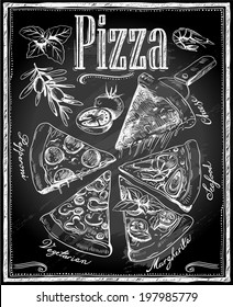 hand-drawn pizza with ingredients on chalkboard