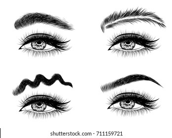 Hand-drawn popular trend social media woman's eye with perfectly squiggle,haired eyebrows and full lashes. Idea for business visit card, typography vector.Perfect salon look