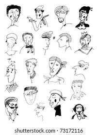 hand-drawn portraits of men and women