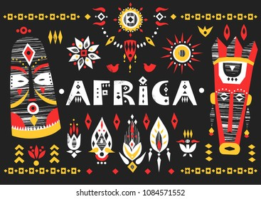 "Hand-drawn poster with the African masks, flowers and lettering ""Africa"" on a black background."