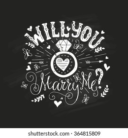 Handdrawn poster �«Marry Me�» with engagement ring, hearts and swirls. Engagement party invitation. Save the date card design. Love lettering with engagement ring Valentine card.