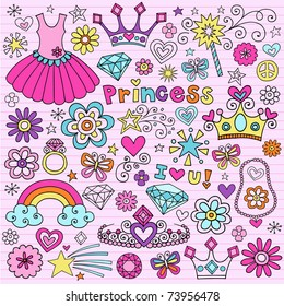 Hand-Drawn Princess Notebook Doodle Design Elements Set on Pink Lined Sketchbook Paper Background- Vector Illustration