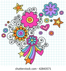Hand-Drawn Psychedelic Abstract Flowers Notebook Doodles on Graph (Grid) Paper Background- Vector Illustration