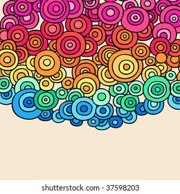 Hand-Drawn Psychedelic Abstract Groovy Rainbow Colored Doodle Circles- Vector Illustration