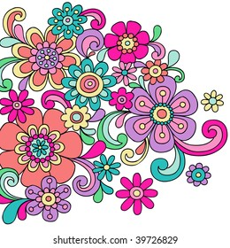 Hand-Drawn Psychedelic Abstract Paisley Doodle Vector Illustration