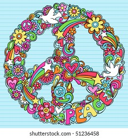 Hand-Drawn Psychedelic Groovy Peace Sign and Dove Notebook Doodles on Lined Sketchbook Paper Background- Vector Illustration