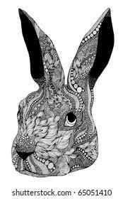 hand-drawn psychedelic rabbit head  illustration