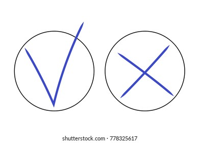 Hand-drawn real YES and NO signs, OK and X symbol icons, Tick and cross, check mark approval, cross sign reject, calligraphic. Blue realistic sign made by pen in black circle box border on white EPS10