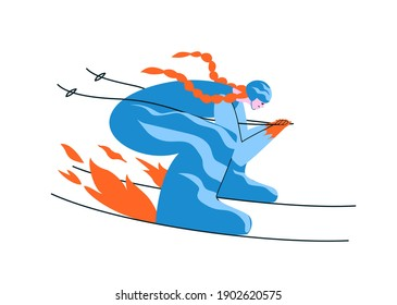 Hand-drawn redhead girl skier in a blue suit. A young woman skis in an aerodynamic pose at full speed that the fire under the skis lights up. Vector stock illustration in cartoon style on white.