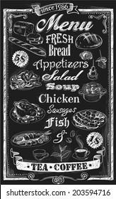 Hand-drawn restaurant menu on chalkboard with frame border
