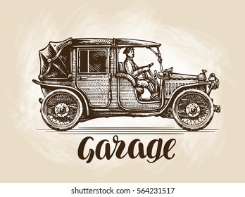 Hand-drawn retro car. Sketch vector illustration