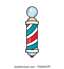 Hand-drawn retro style barber pole, barbershop striped revolving sign, vector illustration isolated on white background. Drawing of barber pole, sign used by barbershops