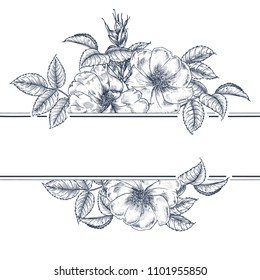 Hand-drawn rosehip with leaves and buds. Botanical pattern in vintage style. Graphic arts.