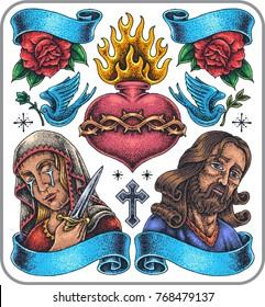 Hand-drawn saint symbols tattoo set.