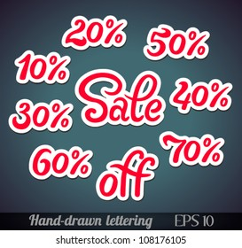 Hand-drawn sale lettering with percents off (design elements/stickers) - vector illustration.