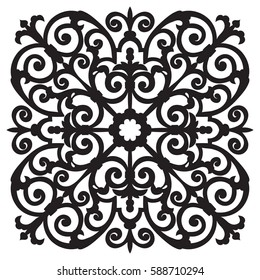 Hand-drawn sample for tile in oriental style, black and white colors. Italian majolica. Vector illustration. Best for your design, textiles, posters