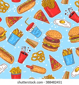 Hand-drawn seamless american fast food pattern. Vector illustration.