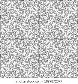 Hand-drawn seamless pattern with abstract elements . Curls, hearts, eyes. Psychedelic background . For fabric, Wallpaper, phone. Black and white vector