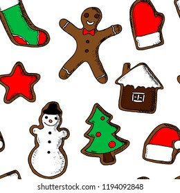 Hand-drawn seamless pattern of christmas cookie. Vector cartoon background of gingerbreads.