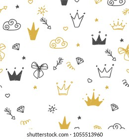 Hand-drawn seamless pattern with clouds, hearts, bow, diamond, crowns. Cute baby and little princess design. Children's room wallpaper and clothes texture.