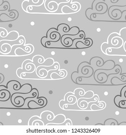 Hand-drawn seamless pattern with cute clouds, stars on a gray background - vector