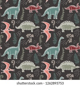 Hand-drawn seamless pattern with dinosaurs and fern leaves, gingo biloba. Vector illustration in chalk.