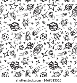 Hand-drawn seamless pattern with graphic elements on the space theme. Sketch style black and white background with stars, rockets, planets ets.