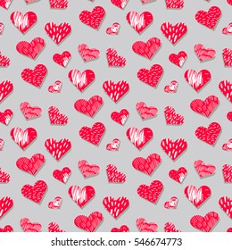 Handdrawn seamless pattern with hearts. Perfect design element for banner, flyer, postcard ,wedding invitation.