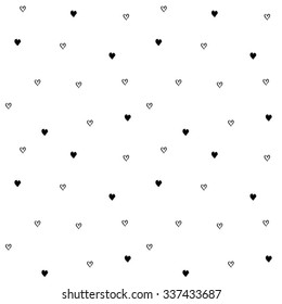 Hand-drawn seamless pattern of little hearts. Vector illustration. Isolated from background.