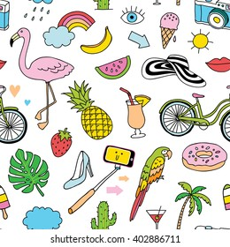 hand-drawn seamless pattern with summer doodles