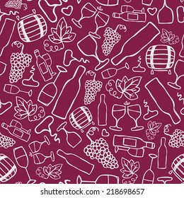 Hand-drawn seamless pattern. Vector illustration. Wine stuff - bottle, glass, grape ripe grape leaf, corkscrew