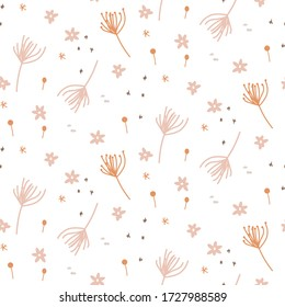 Handdrawn seamless tiny floral pattern. Light pastel small flowers white background.