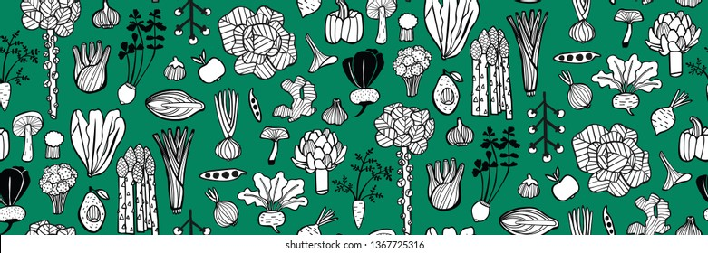Hand-drawn seamless vector pattern of different types of vegetables. Brussel sprouts, fennel, garlic, beetroot, mushroom, cabbage, broccoli, avocado, apple, lettuce, cherry tomato, peas, celery, etc.