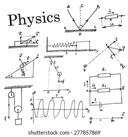 Hand-drawn Set. Collection of element in physics